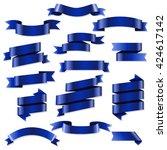 blue web ribbons set | Shutterstock . vector #424617142