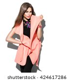 fashion model girl isolated... | Shutterstock . vector #424617286