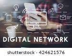 digital network communication... | Shutterstock . vector #424621576