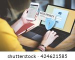 data privacy protection policy... | Shutterstock . vector #424621585