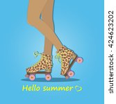 hello summer. summer time.... | Shutterstock .eps vector #424623202