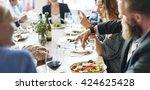business people meeting eating... | Shutterstock . vector #424625428