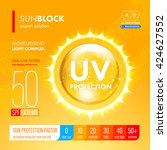 sunblock spf gold oil drop...   Shutterstock .eps vector #424627552