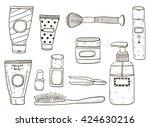 cosmetics doodle set | Shutterstock .eps vector #424630216