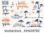 hand drawn summer design... | Shutterstock .eps vector #424634782