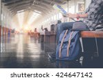 man sitting with map. travel... | Shutterstock . vector #424647142