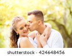 young couple walking  hyde park ... | Shutterstock . vector #424648456