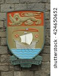 Small photo of VICTORIA,BC,CANADA,MAY 21 2016: Coat of arms of New Brunswick is one of Canada's three Maritime provinces and is the only constitutionally bilingual (Englishâ??French) province.