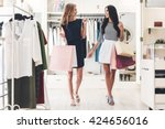 great day for shopping. two... | Shutterstock . vector #424656016