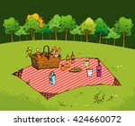 outdoor picnic in park  hand... | Shutterstock .eps vector #424660072