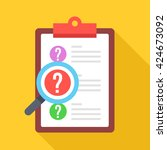clipboard with question marks... | Shutterstock .eps vector #424673092