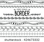 hand drawn vector border set... | Shutterstock .eps vector #424673332