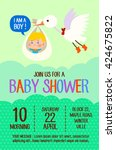 cute girl baby shower card with ... | Shutterstock .eps vector #424675822