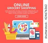 online grocery shopping web... | Shutterstock .eps vector #424676362