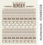 hand drawn vector border set... | Shutterstock .eps vector #424684228