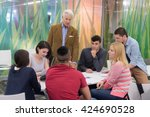 group of students study with... | Shutterstock . vector #424690528