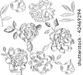 black and white floral seamless ... | Shutterstock .eps vector #42469294