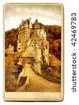 Eltzburg castle - painted landmark series - stock photo
