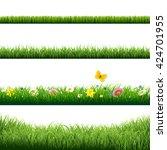 grass borders set  | Shutterstock . vector #424701955