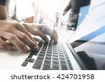 business documents on office... | Shutterstock . vector #424701958