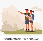 couple planning the route and... | Shutterstock .eps vector #424706362