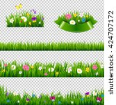flowers borders collection ... | Shutterstock .eps vector #424707172