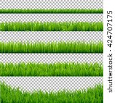 green grass borders collection  ... | Shutterstock .eps vector #424707175