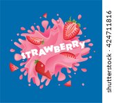 fresh strawberry fruit juice... | Shutterstock .eps vector #424711816