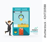 infographic business claw game... | Shutterstock .eps vector #424720588