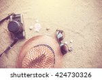 summer concept with accessories ... | Shutterstock . vector #424730326