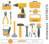 handyman flat icon vector set.... | Shutterstock .eps vector #424748176