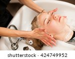 hair stylist at work  ... | Shutterstock . vector #424749952