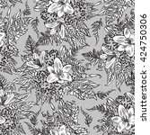 black white lily lace design... | Shutterstock . vector #424750306