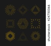 retro gold sun burst shapes.... | Shutterstock .eps vector #424750366