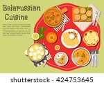 belarussian potato babka and...   Shutterstock .eps vector #424753645
