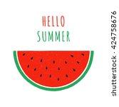 hand drawn slice of watermelon. ... | Shutterstock .eps vector #424758676