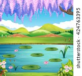 Scene With Lake And Hills...