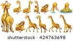 set of giraffe in different...   Shutterstock .eps vector #424763698