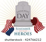 commemorative tombstone with... | Shutterstock .eps vector #424766212
