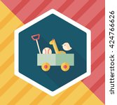 toy cart flat icon with long... | Shutterstock .eps vector #424766626
