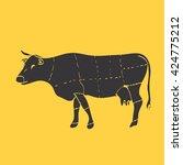cuts of beef vector illustration | Shutterstock . vector #424775212