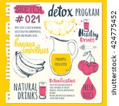 food sketchbook with detox... | Shutterstock .eps vector #424775452