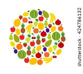 circle of fruits and berries ...   Shutterstock .eps vector #424786132
