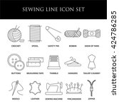 sewing icons. embroidery... | Shutterstock .eps vector #424786285
