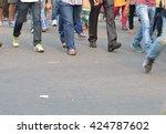 pedestrian are crossing in... | Shutterstock . vector #424787602