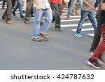 pedestrian are crossing in... | Shutterstock . vector #424787632