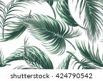 tropical palm leaves seamless... | Shutterstock .eps vector #424790542