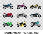 Set Of Motorcycle Design Flat...