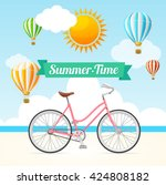 summer card with hot air... | Shutterstock . vector #424808182