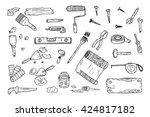 house repair tools vector set.... | Shutterstock .eps vector #424817182